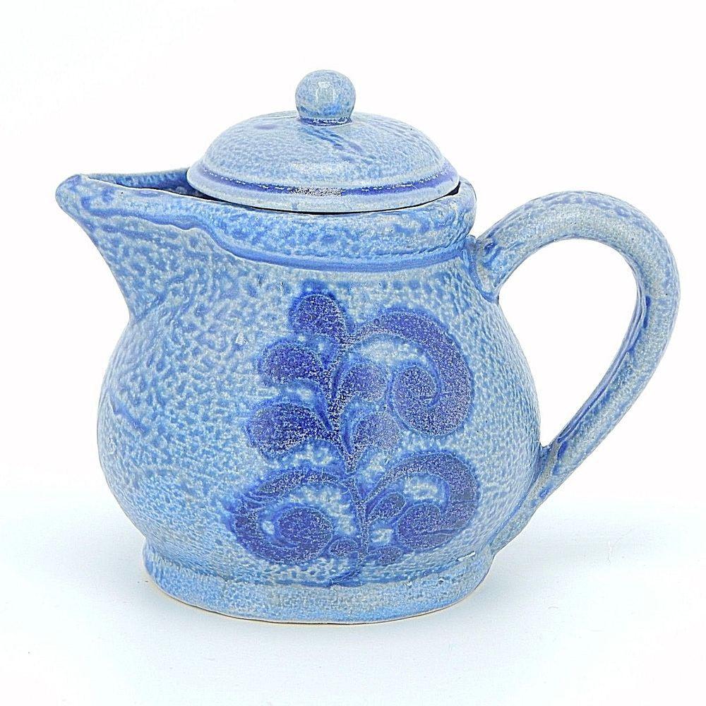 roseville usa vase value of spongeware teapot ceramics t teapot stoneware in vintage collectible glazed ceramic creamer pitcher with lid blue stoneware with spongeware style with a henn pott