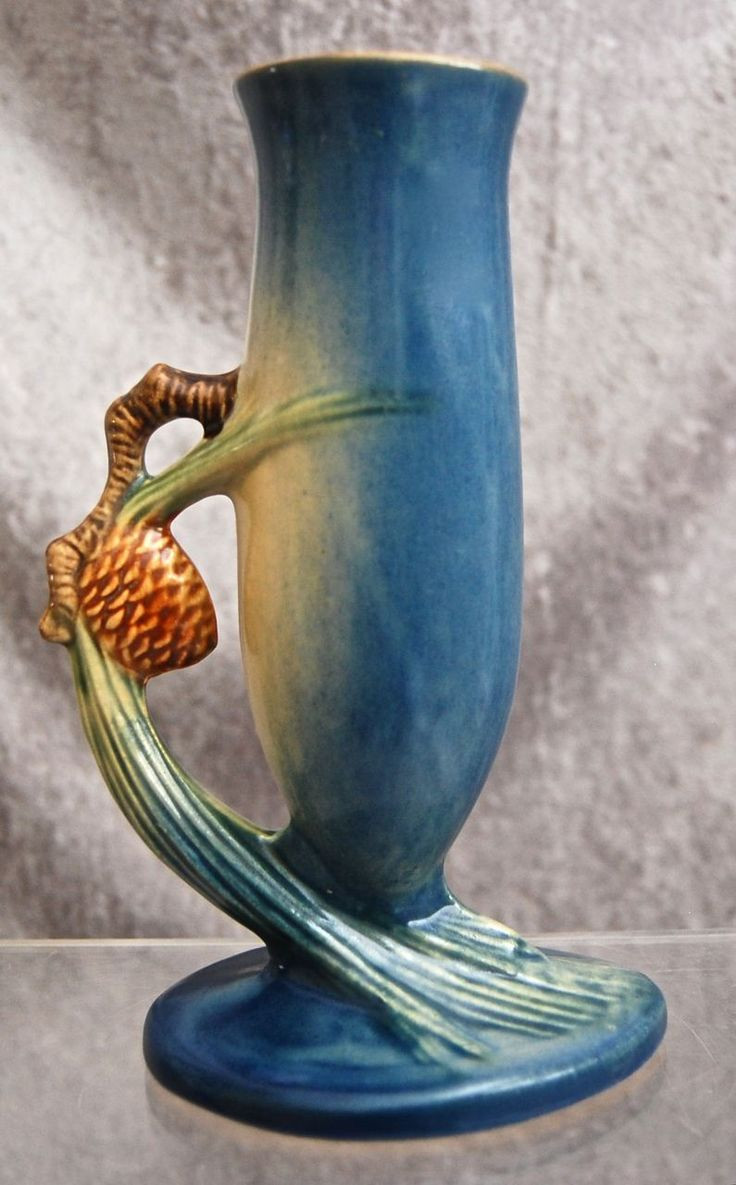 Roseville Vase Patterns Of 254 Best Roseville Pottery Images On Pinterest Antique Pottery Inside Roseville Pottery Pine Cone Bud Vase 479 7 Blue