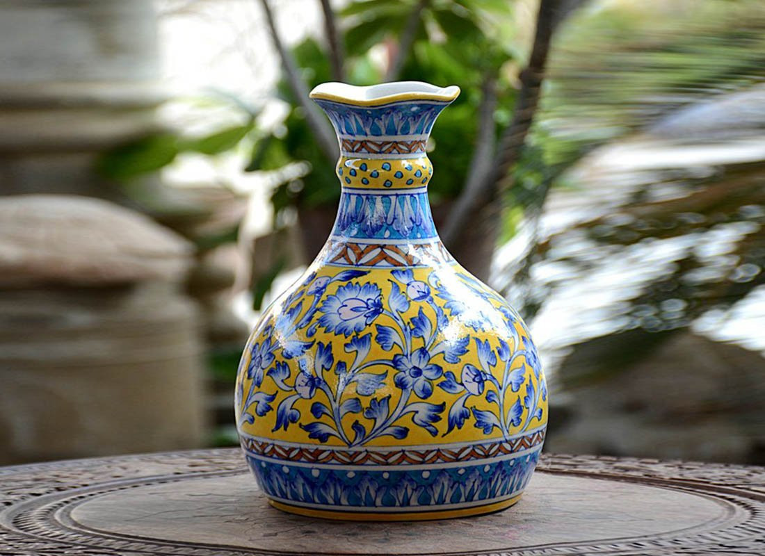round white ceramic vase of antique vase online small decorative glass vases from craftedindia inside vintage style blue pottery pitcher vase