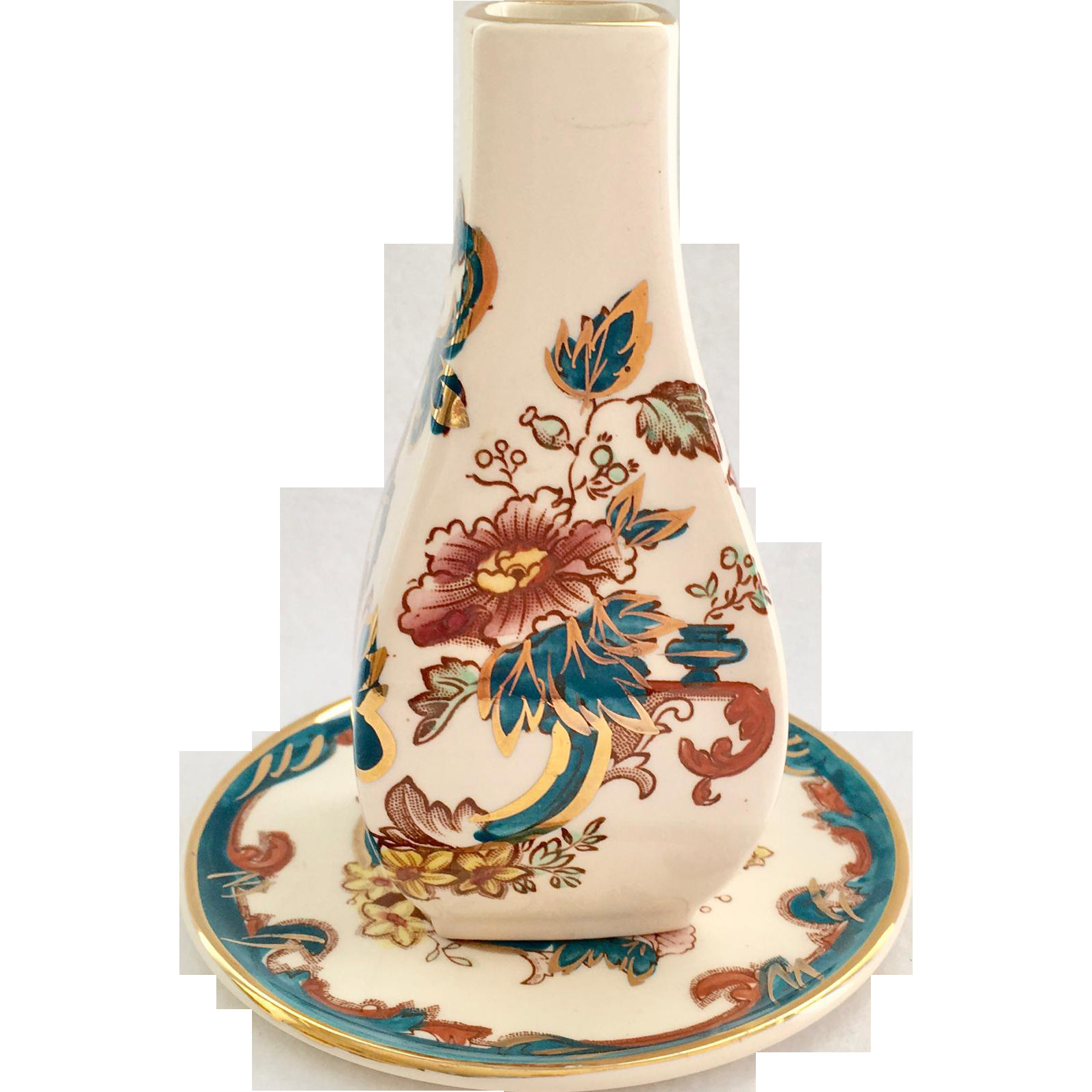 royal albert china vase of masons england java ironstone bud vase and underplate 22karat gold intended for this lucky find is masons england java pattern in an ironstone bud vase and underplate decorated with 22karat gold the printed asian style design of