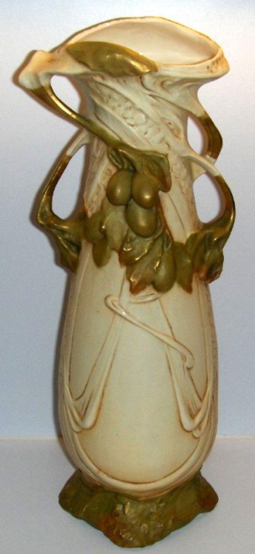 royal dux bohemia vase of royal dux antique porcelain art nouveau vase green olives and leaves with royal dux antique porcelain art nouveau vase green olives and leaves hull pottery pottery art