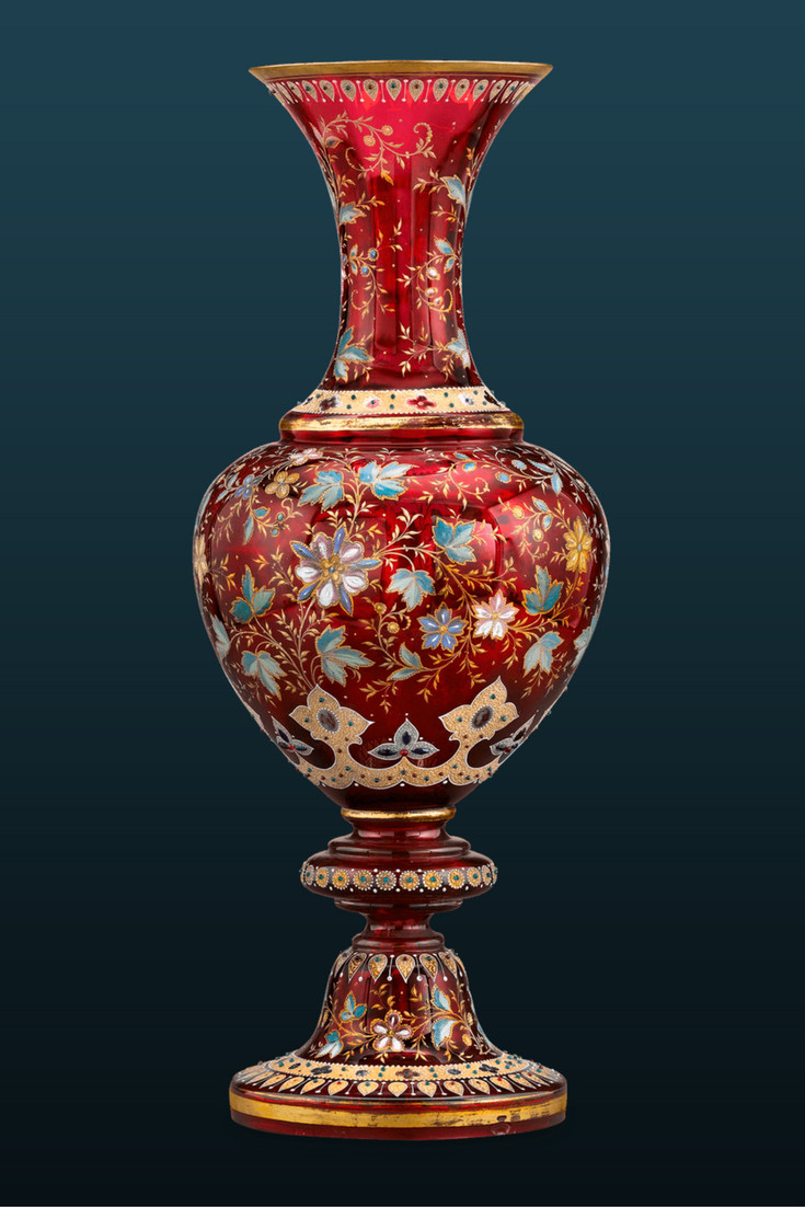 ruby cut glass vase of this outstanding enameled ruby glass vase was crafted by the throughout glass a· this outstanding enameled ruby glass vase