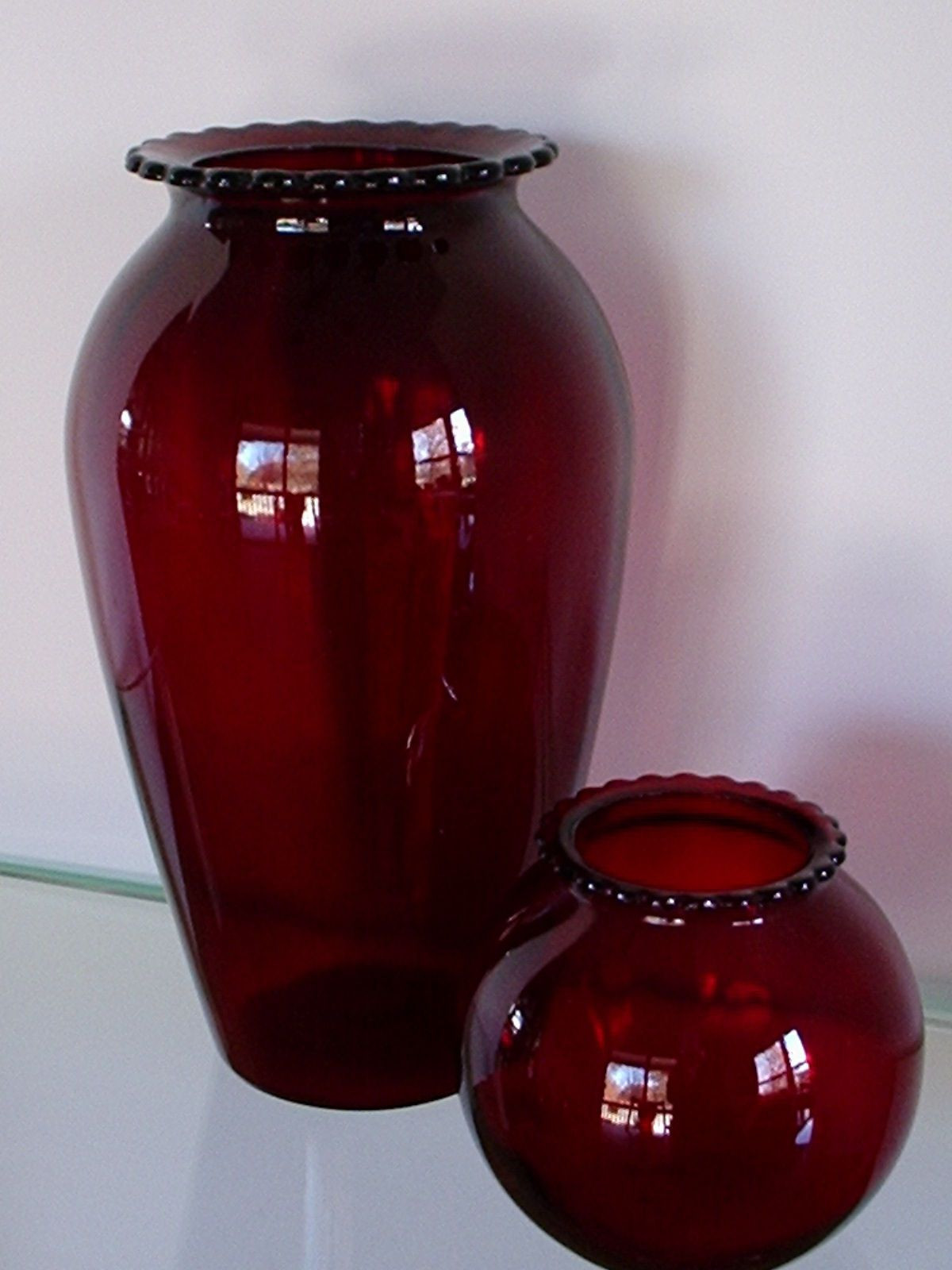 ruby red vase of anchor royal ruby glass shakers vintage salt and pepper pertaining to 2 vintage depression glass anchor hocking royal ruby red vases hoover ebay