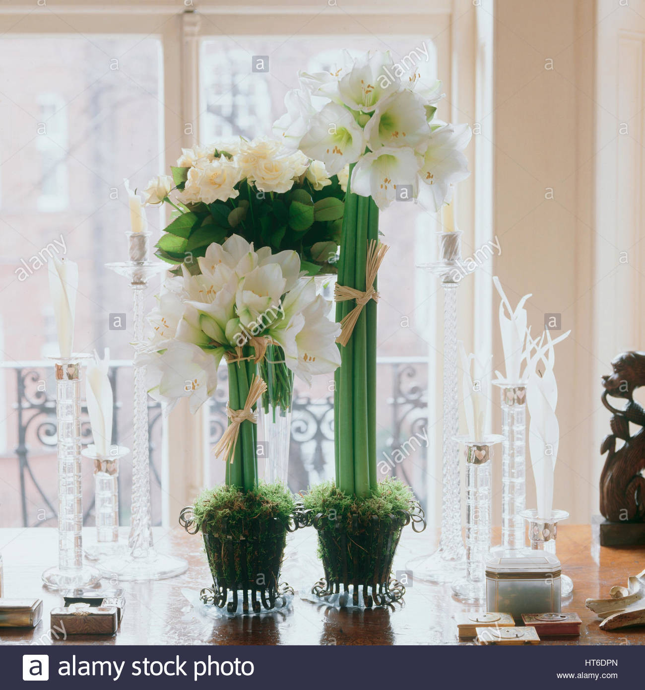Rustic Metal Flower Vase Of Pretty Flowers Vase Table Stock Photos Pretty Flowers Vase Table within Flowers On A Dining Table Stock Image