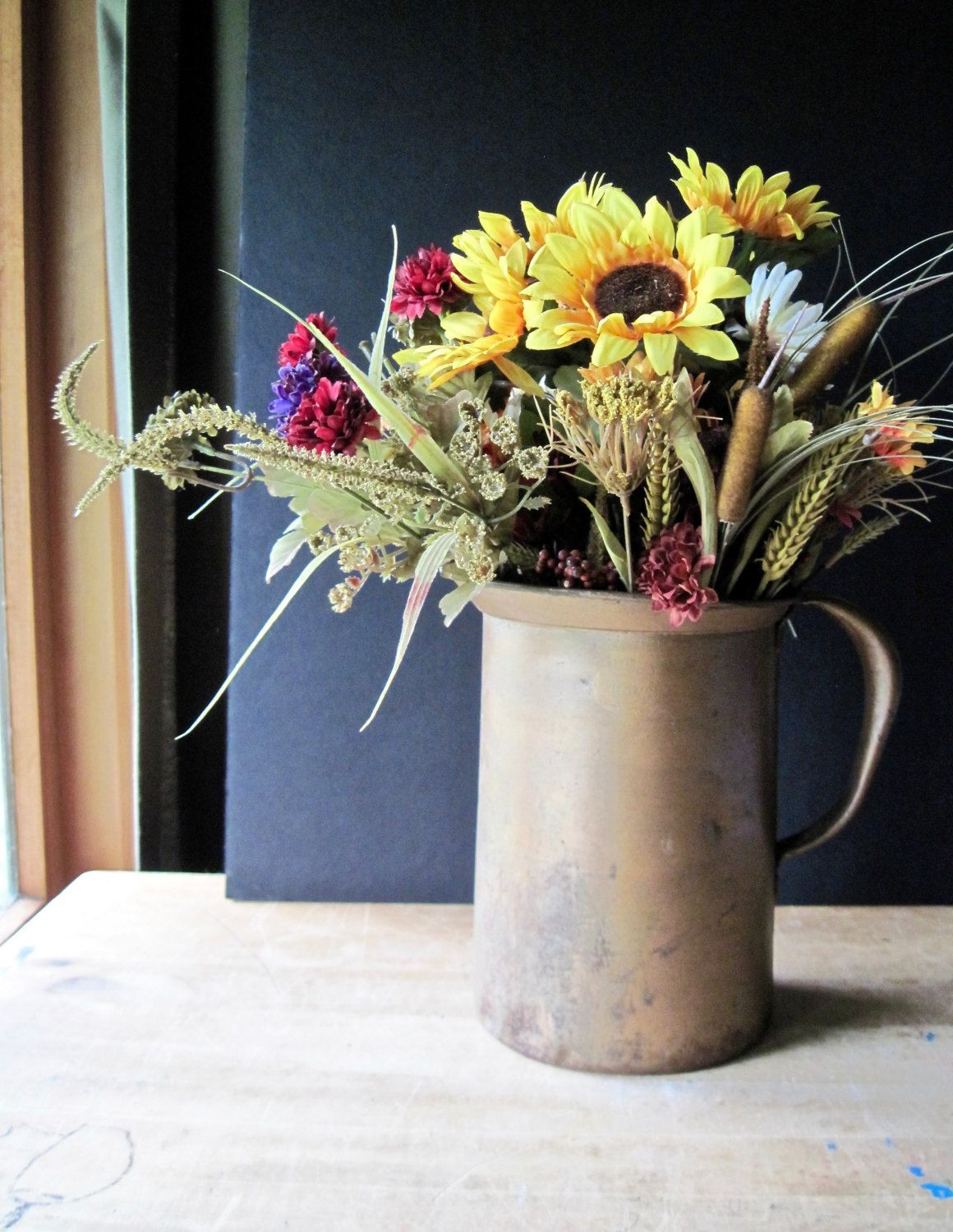 rustic metal vase of primitive rustic metal pitcher industrial garden farmhouse french in primitive rustic metal pitcher industrial garden farmhouse french country decor security off center