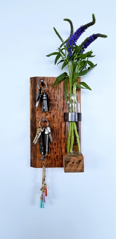 rustic wood flower vases of rustic key holder key holder unique key rack reclaimed wood etsy regarding image 0