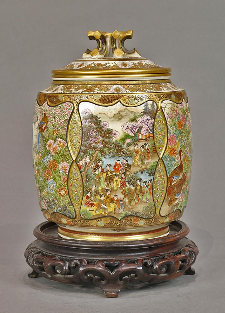 satsuma china vase of japanese kyo satsuma lidded jar ryozan with lid on satsuma with regard to japanese kyo satsuma lidded jar ryozan with lidjapanese kyo satsuma lidded jar cylindrical body with various landscapes including cherry blossoms and
