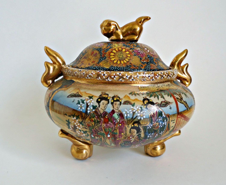 satsuma moriage vase of satsuma large ginger jar japanese moriage vintage porcelain and in satsuma covered dish with foo dog lid japanese moriage by treasurecoveally on etsy