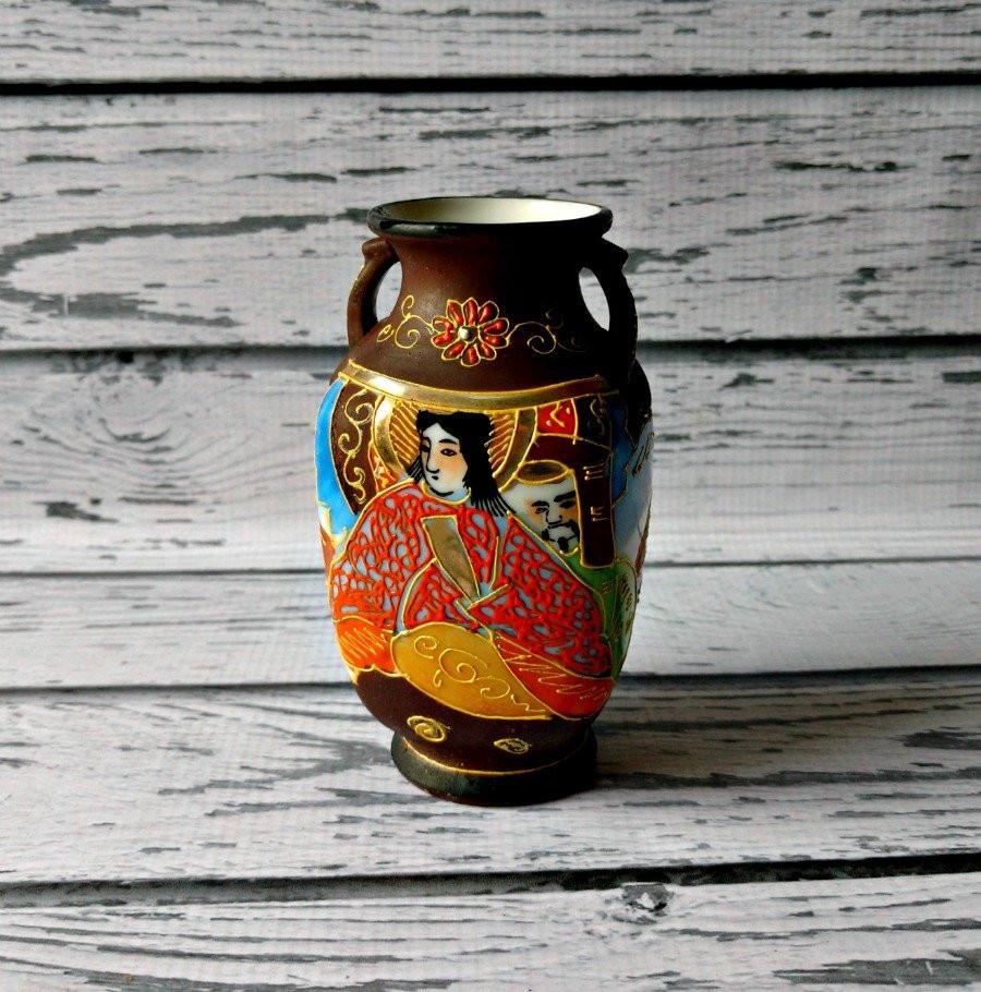 "satsuma moriage vase of vintage satsuma vase moriage vase 1950s porcelain geisha etsy pertaining to dŸ""Žzoom"