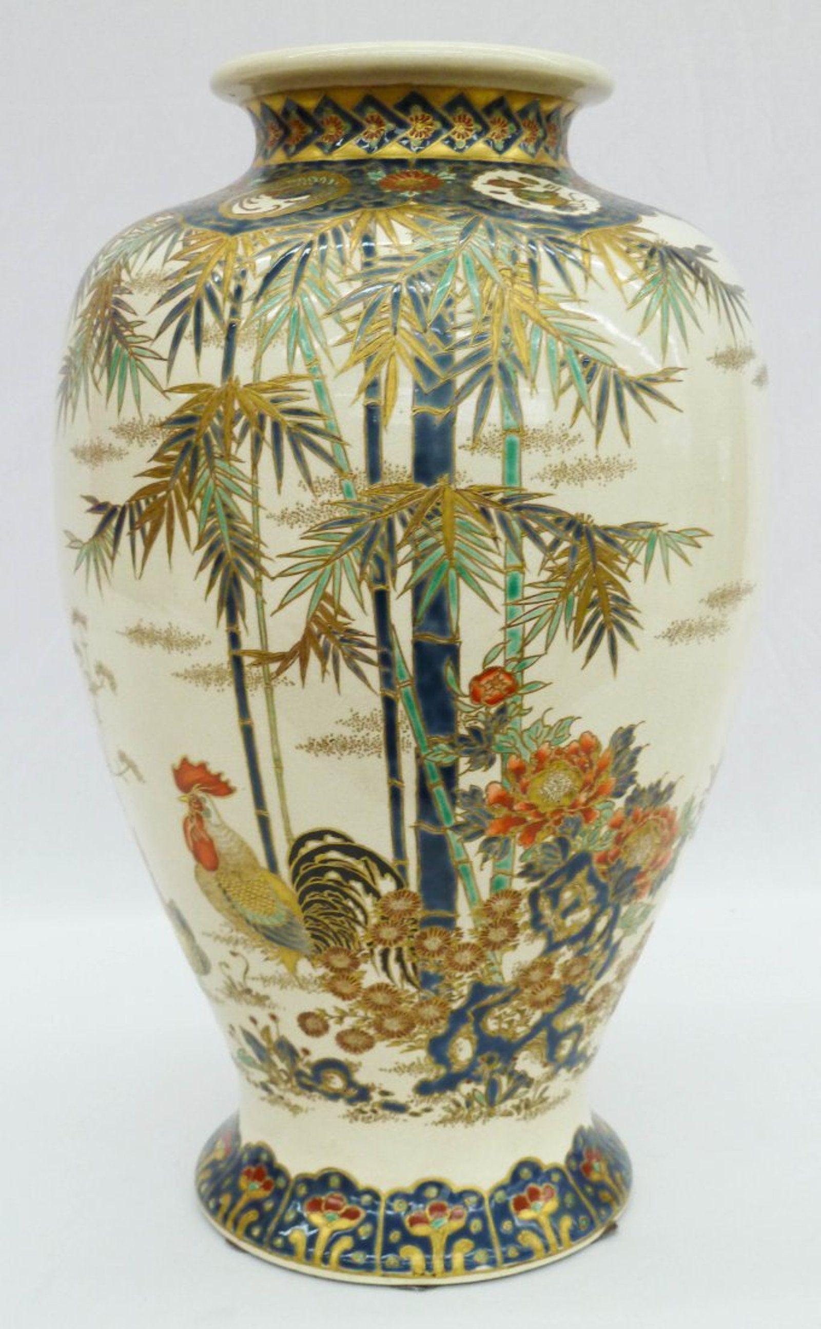 satsuma porcelain vase of 42 large japanese satsuma vase with roosters bamboo on japanese with 42 large japanese satsuma vase with roosters bamboo