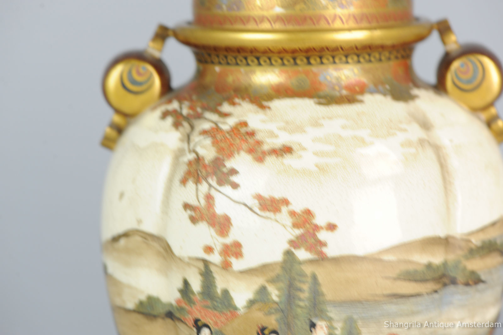 Satsuma Porcelain Vase Of Shangrila Antique Inside sold