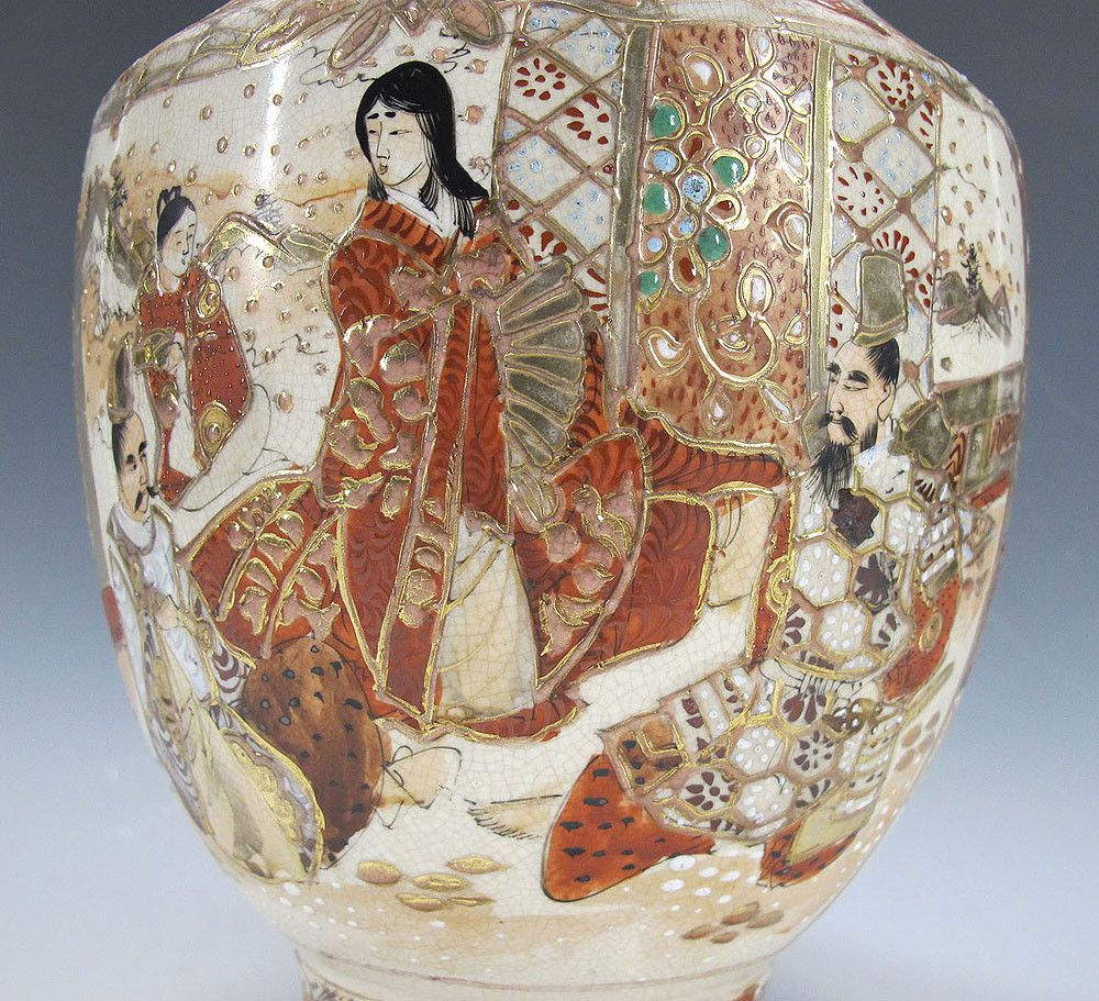 satsuma vase made in china of meiji japan trade export satsuma gilt moriage victorian samurai intended for meiji japan trade export satsuma gilt moriage victorian samurai ladies vase yqz