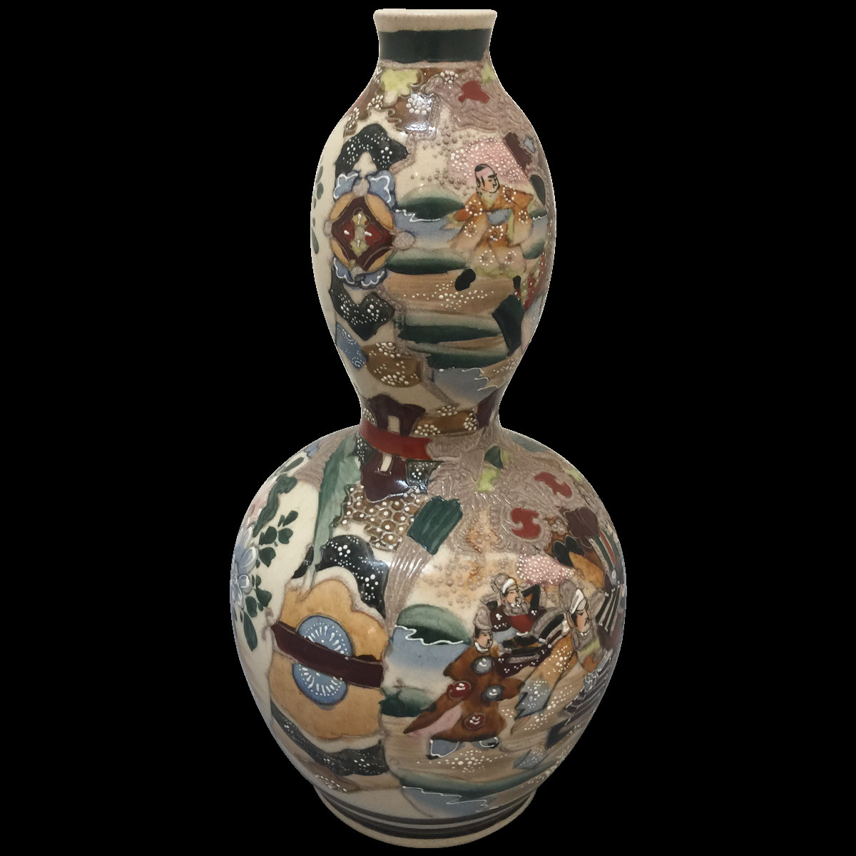 satsuma vase with handles of antique satsuma biscuit jar moriage meiji period covere throughout hand painted double gourd satsuma style vase
