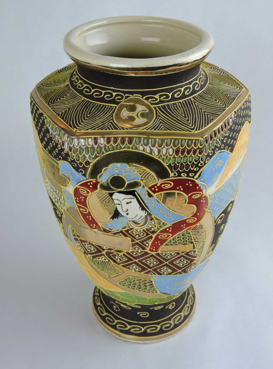 satsuma vase with handles of moorcroft pomegranate pattern pedestal compote circa 1920s intended for early 20th century hand painted satsuma hexagonal vase with japanese folklore scene
