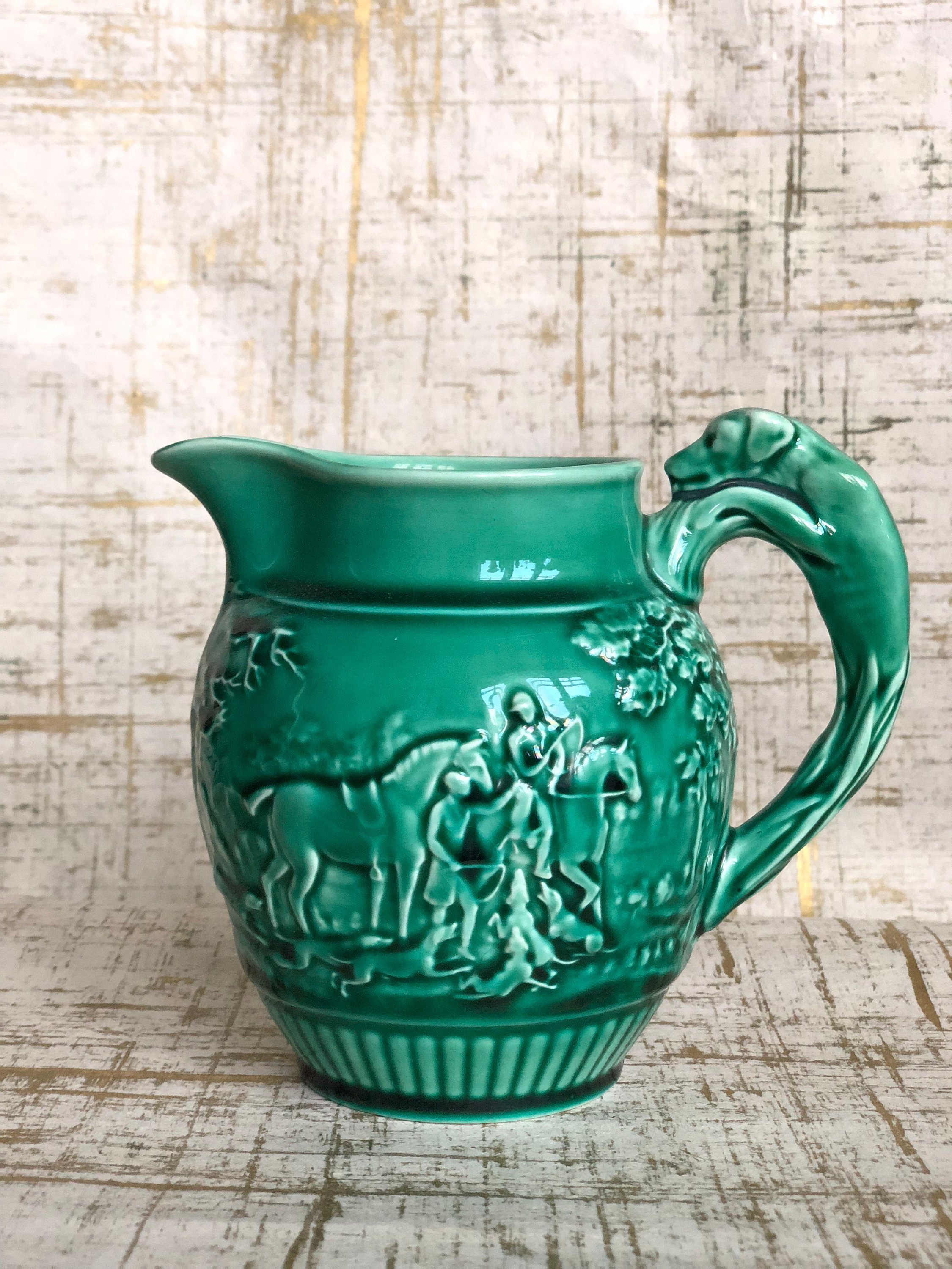 "satsuma vase with handles of wedgwood large etruria green jug pitcher ewer horse hunting etsy with dŸ""Žzoom"
