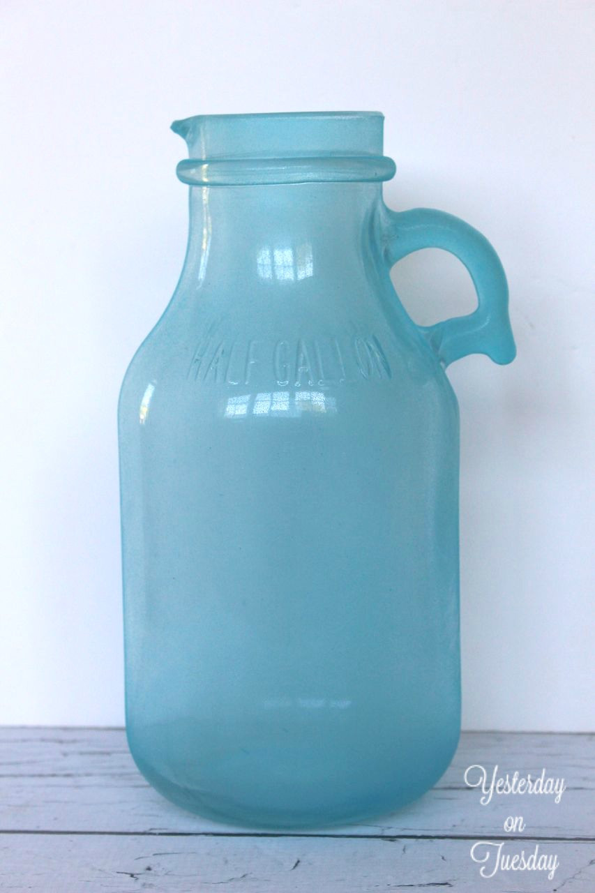 sea glass colored vases of from plain glass jug to sea glass vase within sea glass spray painted jug