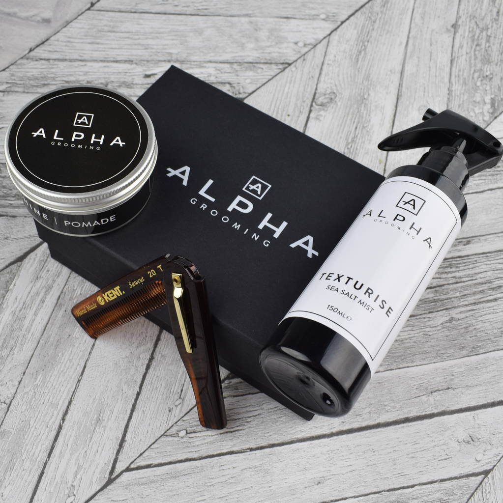 sea of sweden handmade glass vase of mens pomade comb and sea salt gift box by alpha grooming within mens pomade comb and sea salt gift box