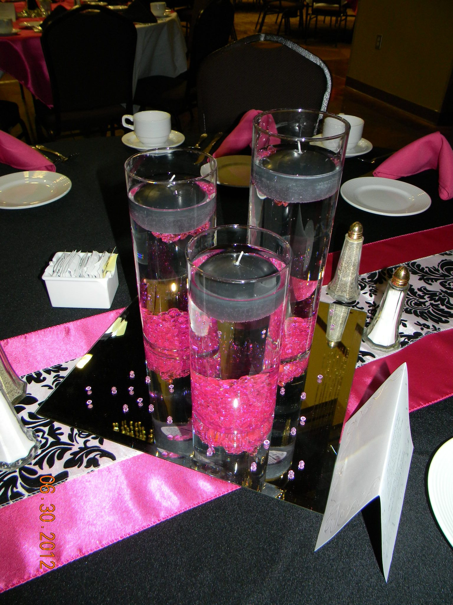 set of 3 cylinder glass vases of set of 3 cylinders black float candles fuchsia diamond gems 12x12 within set of 3 cylinders black float candles fuchsia diamond gems 12x12 square mirror fuchsia table runner black white damask table runner black tablecloth