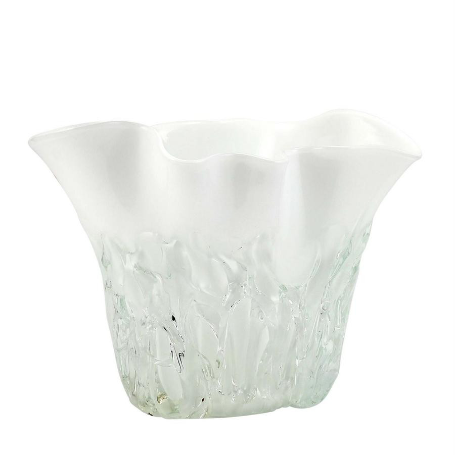 short rectangular glass vase of shop by price 501 to 1000 artistica com with murano original short vase milk white clear wavy rim smooth and textured surface