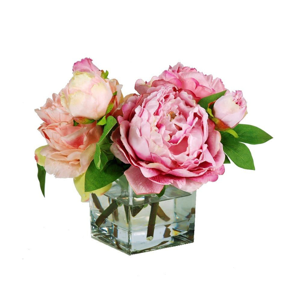 silk peonies in vase of shop jane seymour botanicals p55036 pk purple peonies in square inside shop jane seymour botanicals p55036 pk purple peonies in square glass vase at the mine browse our silk flowers all with free shipping and best price