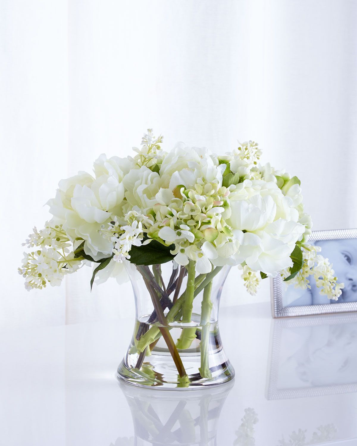 silk peonies in vase of windy faux floral arrangement decorate it pinterest floral in handcrafted free form faux floral arrangement of hydrangeas lilacs and peonies faux silk florals exaggerated hourglass shaped glass vase 15w