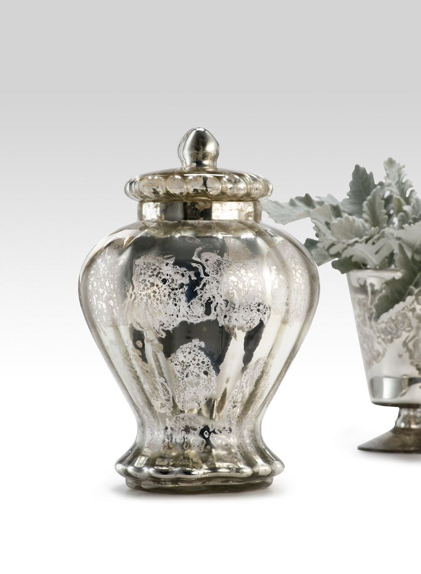 Silver Flower Vases wholesale Of 10 1 2in Antique Silver Jar with Lid Mercury Glass Pinterest Throughout 10 1 2in Antique Silver Jar with Lid Bg 2593sl