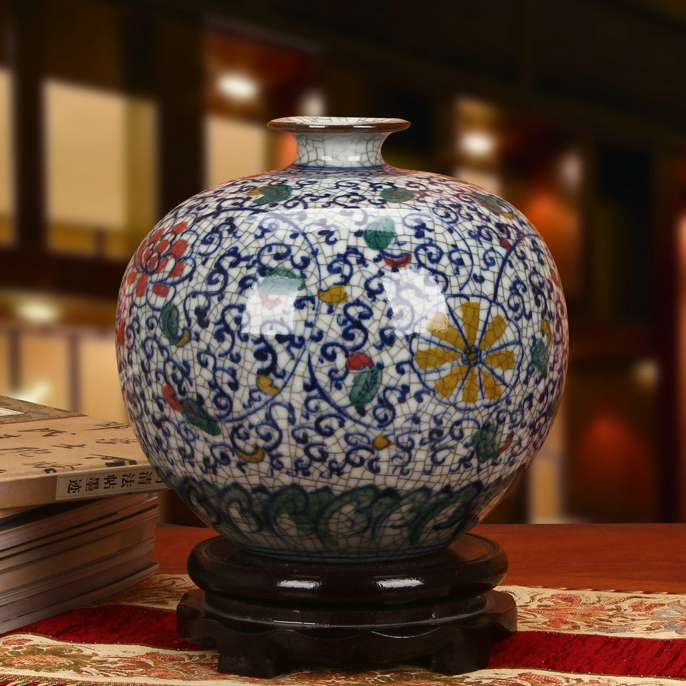 silver textured vase of aliexpress com buy jingdezhen ceramic vase ornaments antique intended for aliexpress com buy jingdezhen ceramic vase ornaments antique imperial crack glaze colorful jewelry home furnishing pomegranate vase from reliable ceramic