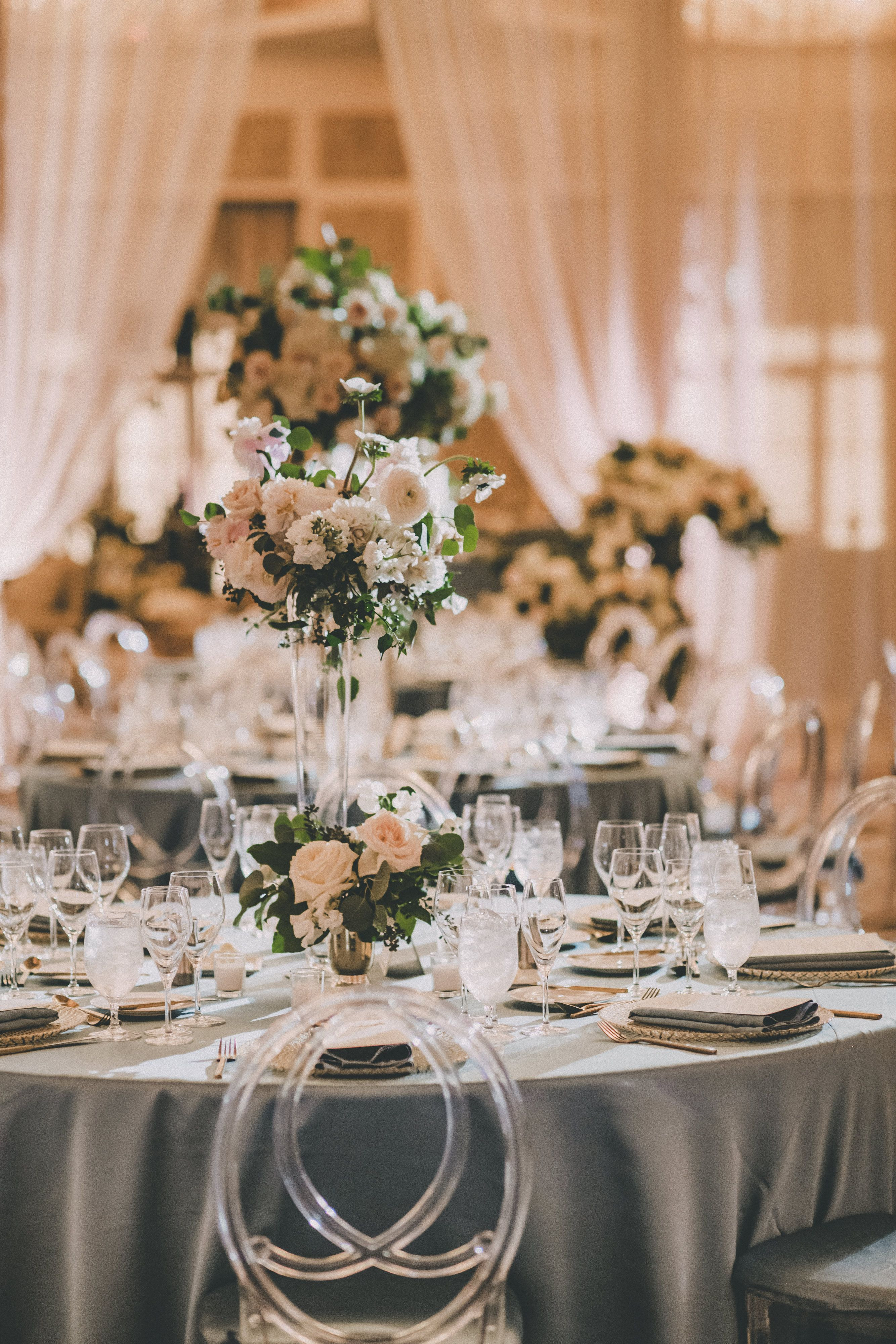 silver trumpet vase of 28 tall trumpet vases the weekly world for beautiful ballroom is draped and filled with three heights of flower