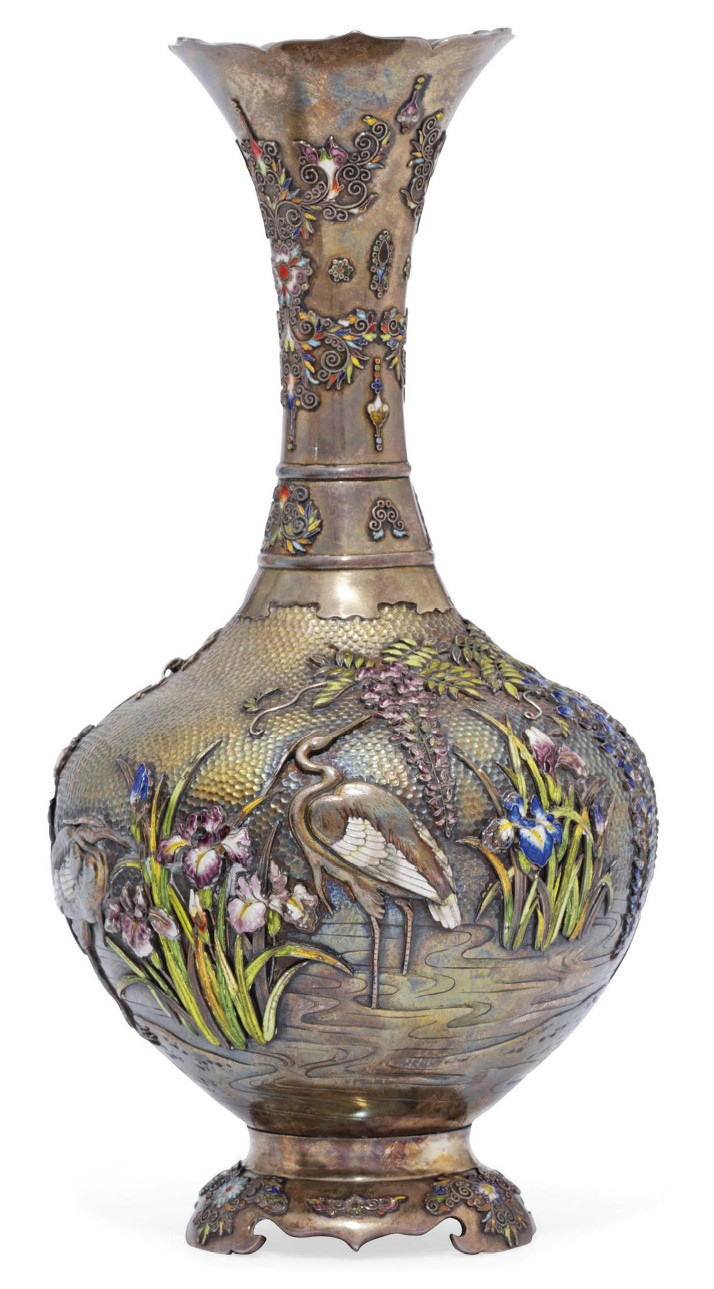 silver urn vase of a silver and cloisonna vase signed yoshihide meiji period late with a silver and cloisonna vase signed yoshihide meiji period late 19th century the surface hammered chased engraved and inlaid in various coloured