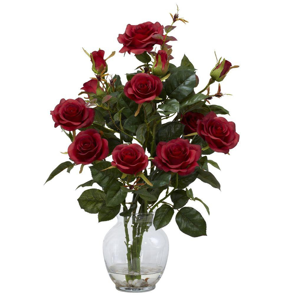 Single Rose Glass Vase Of Artificial Plants Flowers Home Accents the Home Depot within H Red Rose Bush with Vase Silk Flower Arrangement