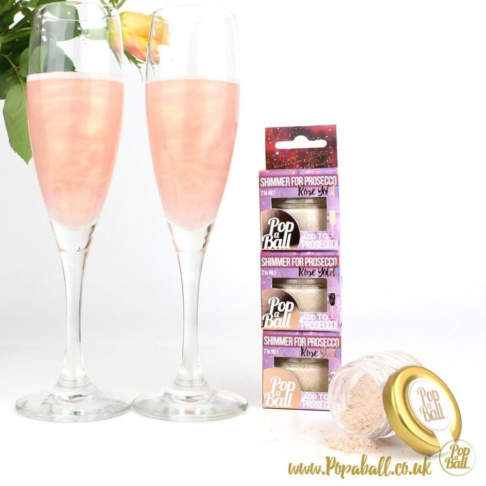 Single Rose Glass Vase Of Popaball Rose Gold Shimmer for Prosecco for Rose Gold Shimmer for Prosecco