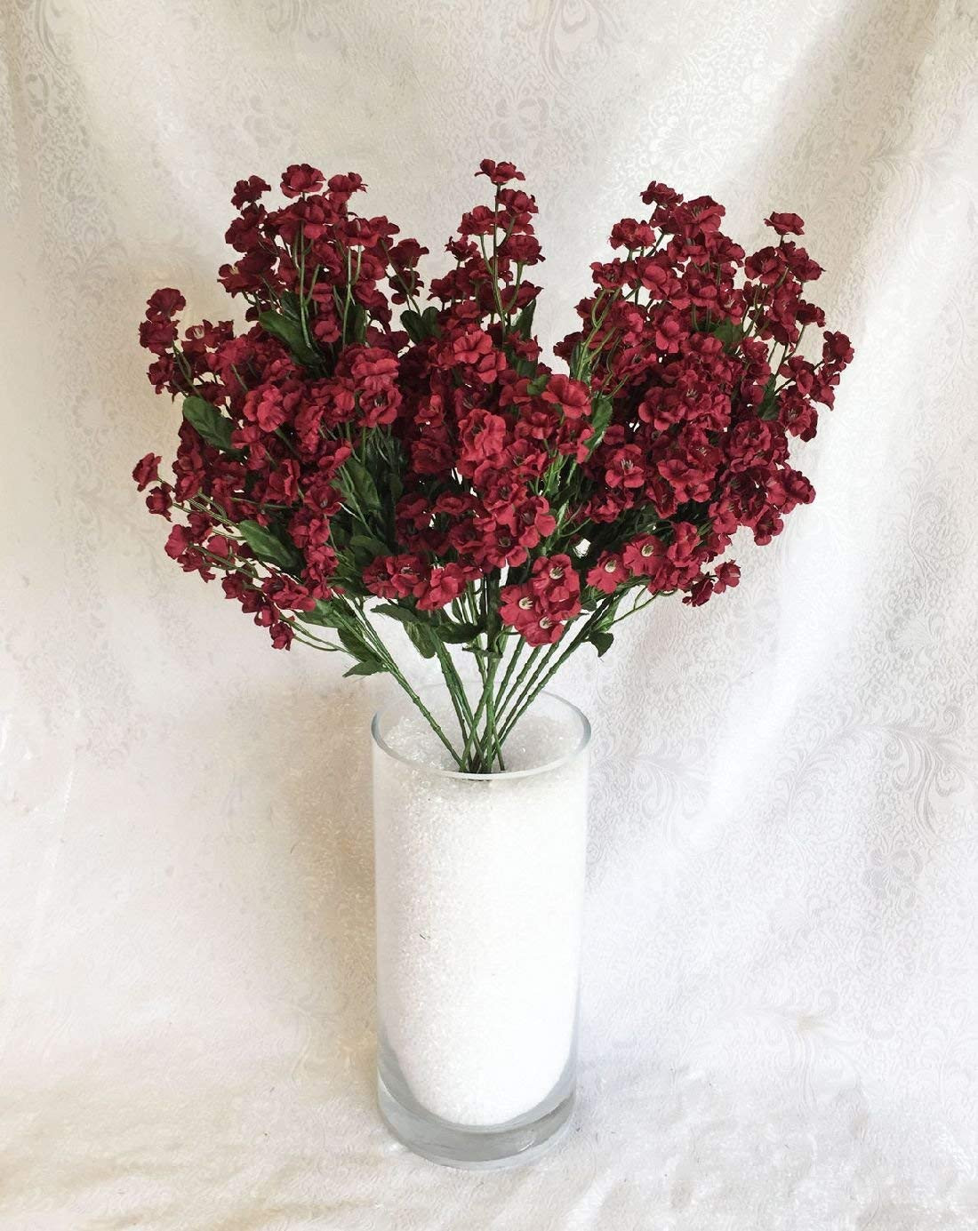 small artificial flowers in vase of amazon com 12 babys breath burgundy gypsophila silk wedding in amazon com 12 babys breath burgundy gypsophila silk wedding flowers centerpieces bouquet home kitchen