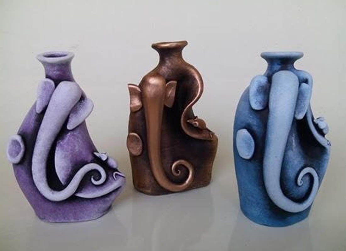 small ceramic vases bulk of antique vase online small decorative glass vases from craftedindia with terracotta art abstract ganesha vases set of 3