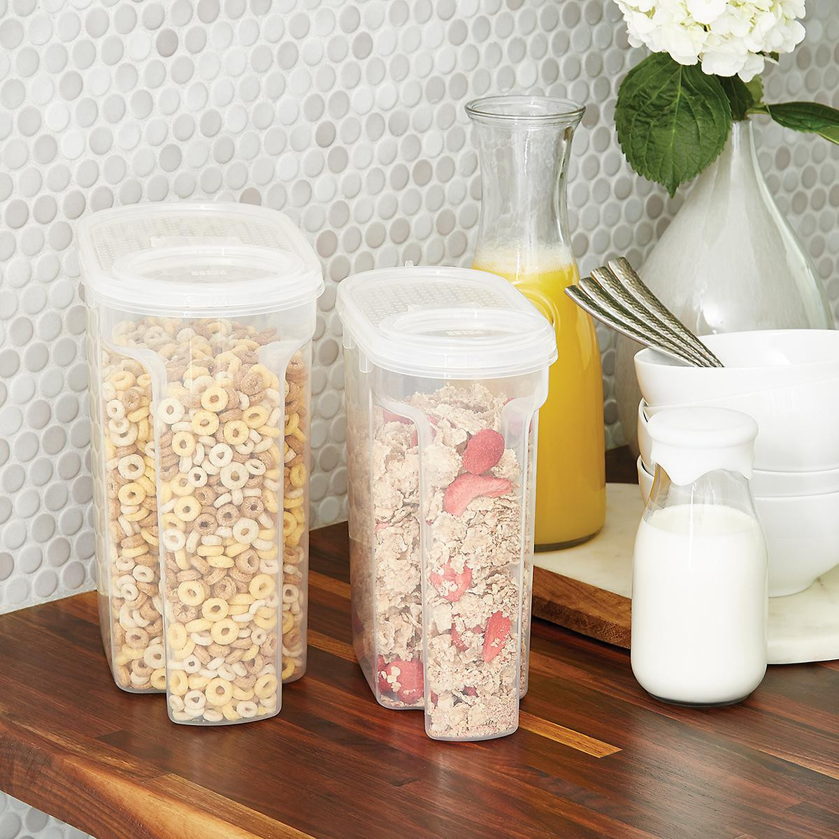 small clear plastic vases of tellfresh store n pour dry food dispensers the container store intended for tellfresh store n pour dry food dispensers