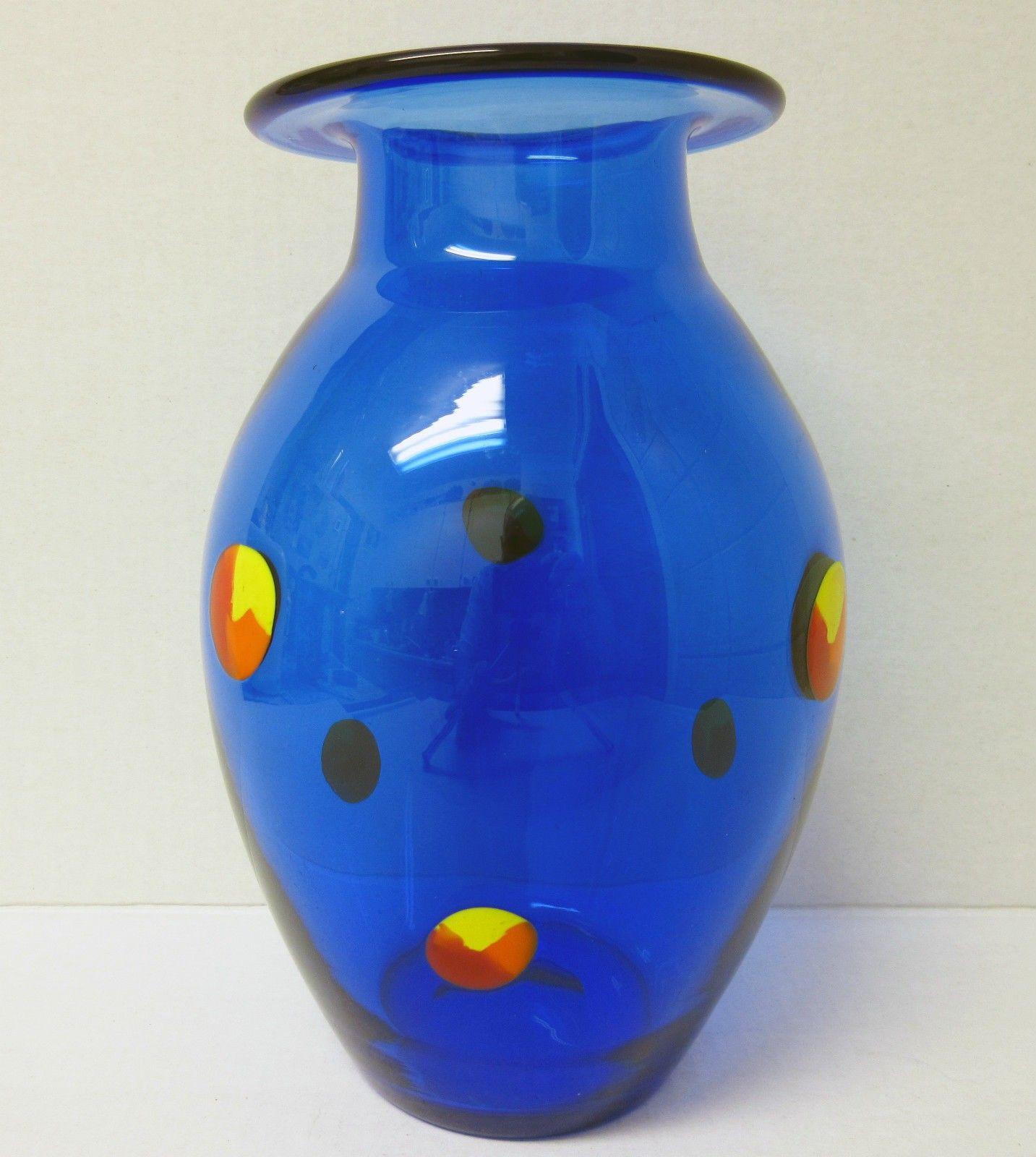 small cobalt blue vase of cobalt blue with multi color prunts orrefors sweden art glass vase with regard to cobalt blue with multi color prunts orrefors sweden art glass vase measures approximately 8 1 2″ x 5″ sand blasted etched signature on the base
