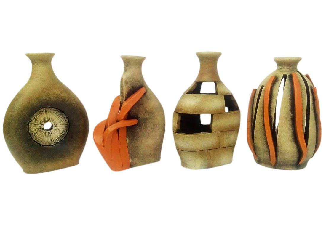 small decorative glass vases of antique vase online small decorative glass vases from craftedindia pertaining to abstract art terracotta vase showpiece set of 4