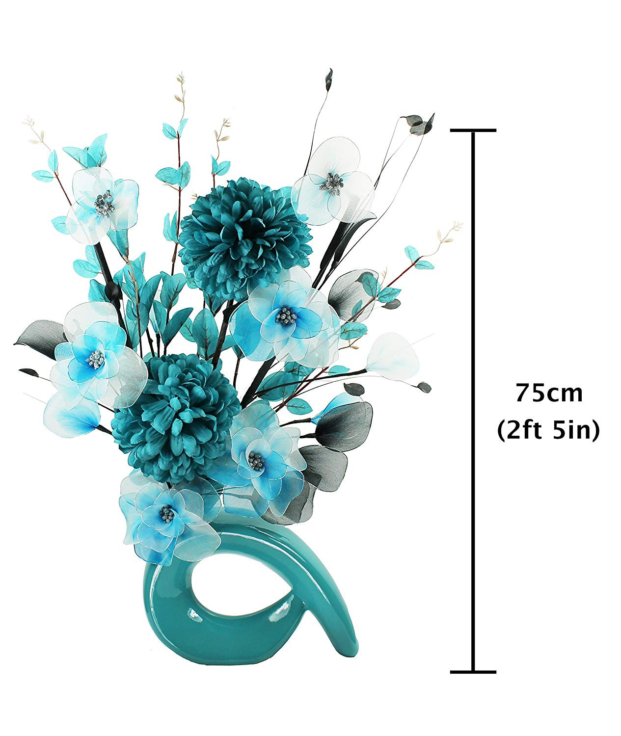 small fake flowers in vase of turquoise blue vase with teal blue and white artificial flowers with turquoise blue vase with teal blue and white artificial flowers ornaments for living room window sill home accessories 75cm amazon co uk kitchen