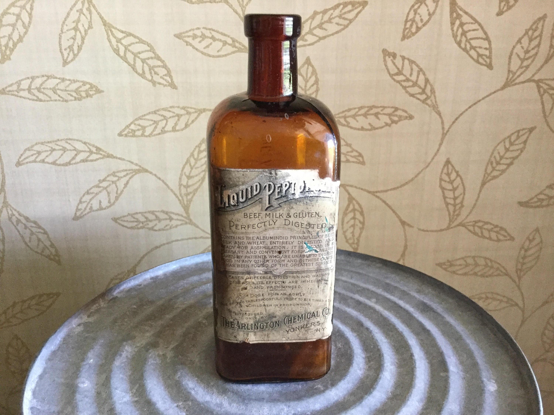"small glass milk bottle vases of peptonoids glass bottle arlington chemical company with dŸ""Žzoom"