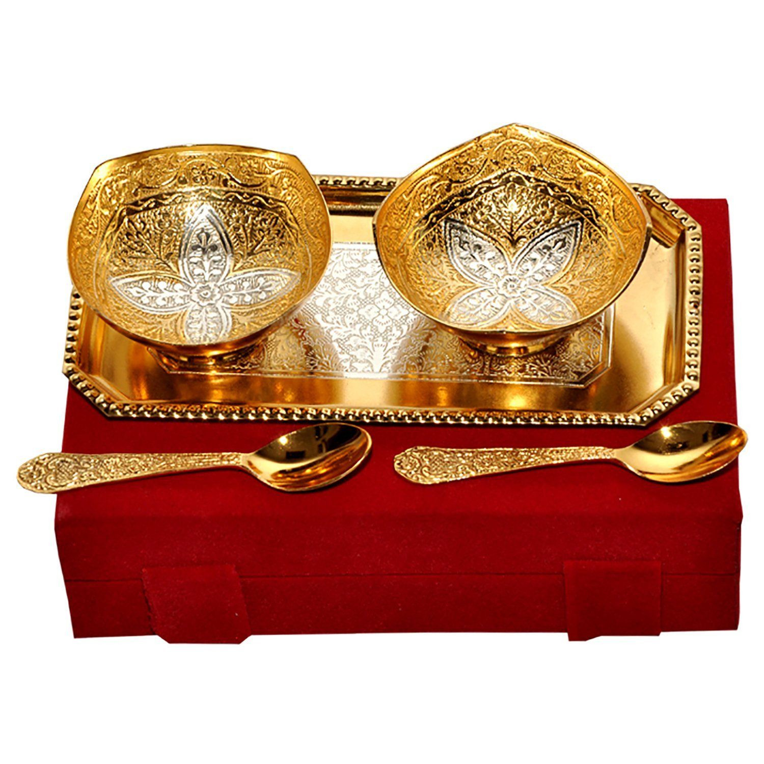 small glass vases amazon of amazon com rangsthali home decorative gold silver plated brass with regard to amazon com rangsthali home decorative gold silver plated brass bowl tray set of 5 pcs rbsg00024