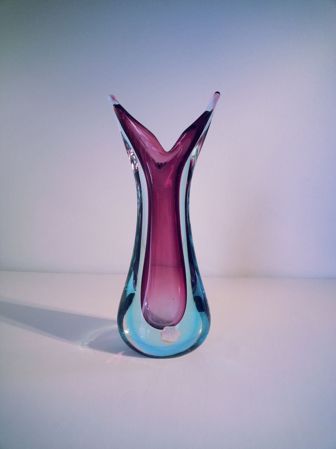 Small Green Glass Vase Of Murano sommerso Genuine Venetian Glass 1950s 1960s Purple Blue Throughout Murano sommerso Genuine Venetian Glass 1950s 1960s Purple Blue Glass Vase Pulled Design Vase Made In Italy by Fcollectables On Etsy