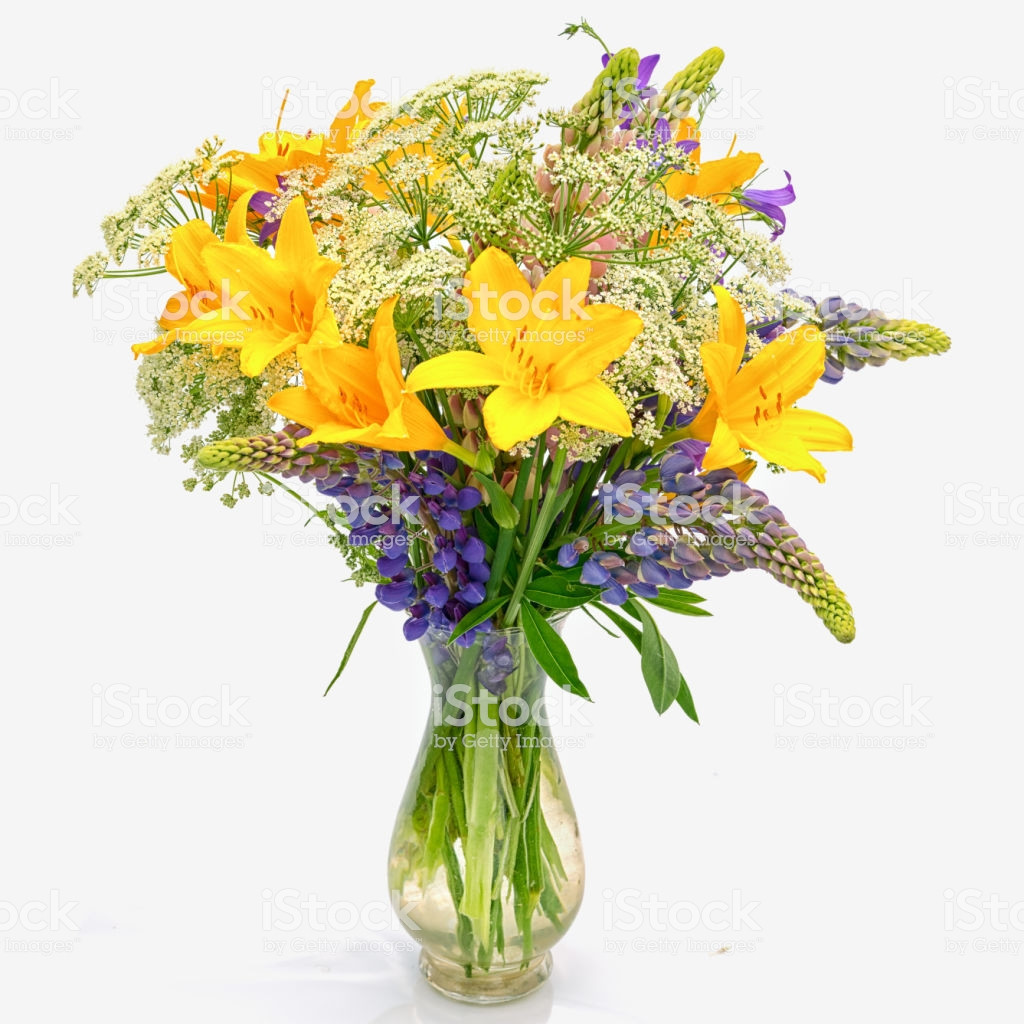 Small Vintage Glass Vases Of Bouquet Od Wild Flowers Achillea Millefolium Day Lily and Lupine In Regarding Bouquet Od Wild Flowers Achillea Millefolium Day Lily and Lupine In A Transparent Glass