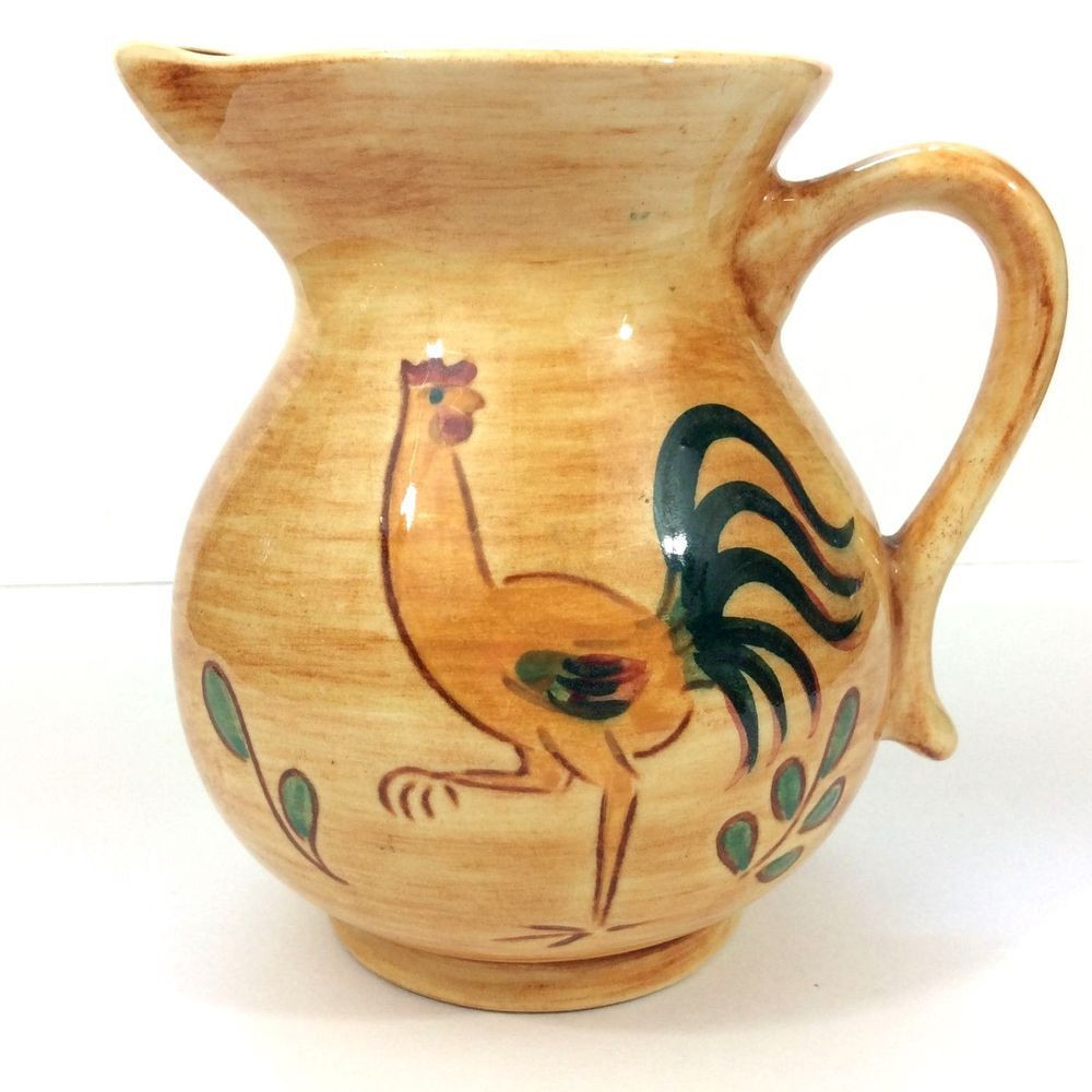 small yellow vase of retro rooster creamer or small pitcher pennsbury pottery perfect throughout retro rooster creamer or small pitcher pennsbury pottery perfect condition