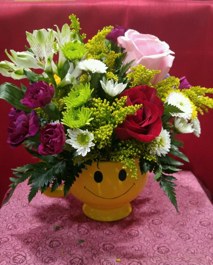 smiley face vase of happy face mug in philadelphia pa philadelphia flower market in happy face mug