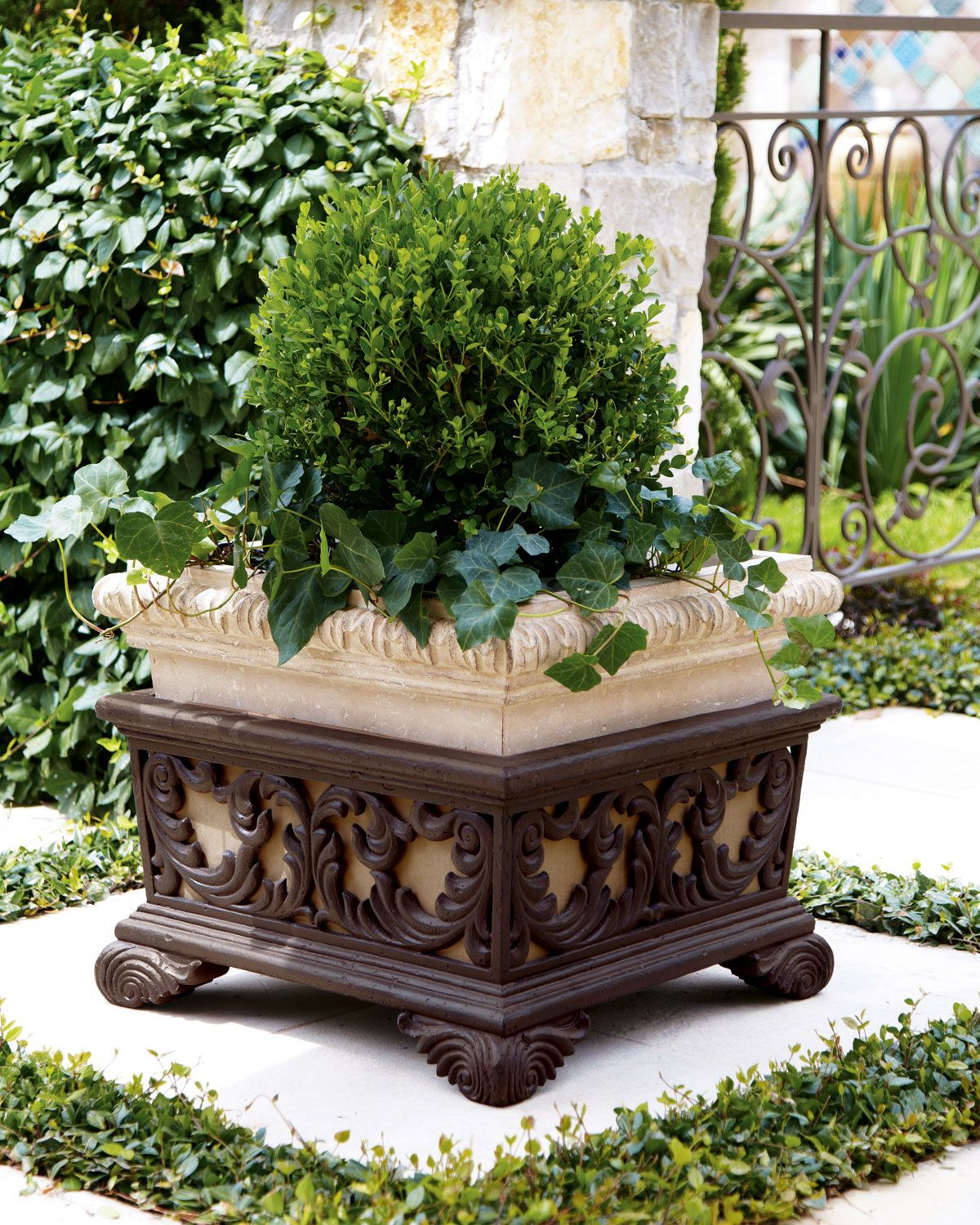 Square Vase Stand Of Square Planter with Stand Scroll Design Brown Finish and Planters Regarding Square Planter with Stand Add form and Function to Your Patio with This Square Planter Embellished with A Leaf Scroll Design An Aged Limestone and Dark