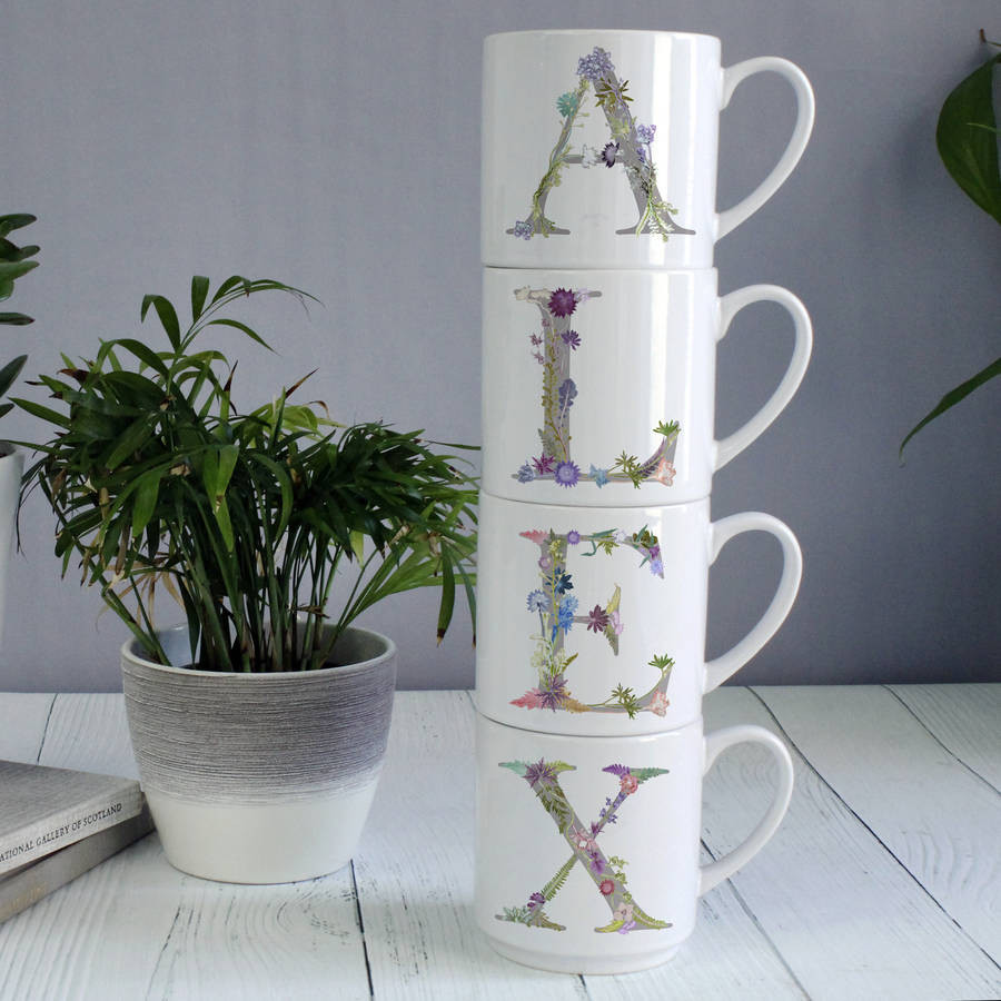 stacked teacup vase of personalised botanical home accessory stacking mugs by gillian regarding personalised botanical home accessory stacking mugs