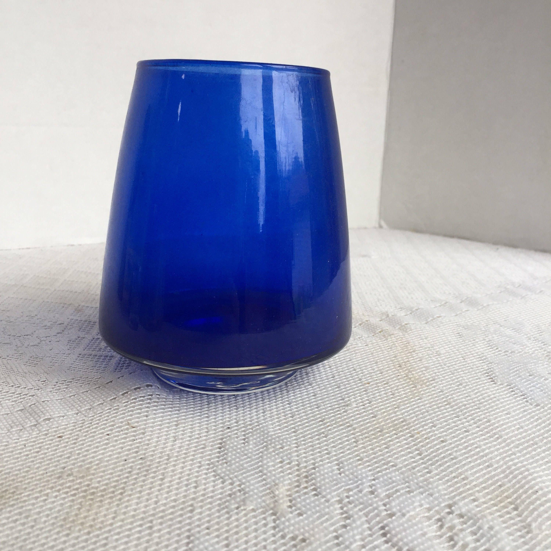 stainless steel cylinder vase of cobalt blue glass cone shaped vase vintage seventies floral in cobalt blue glass cone shaped vase vintage seventies floral supplies by vintagepoetic on etsy