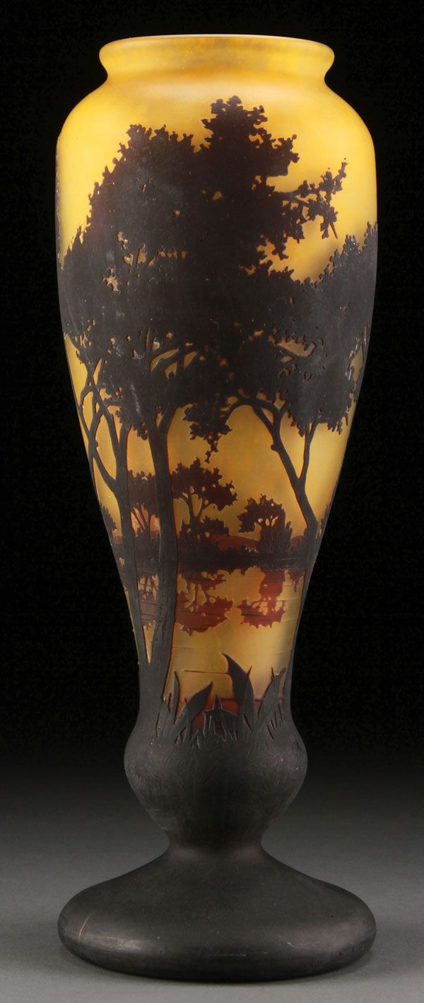 steuben blue aurene vase of a good daum nancy french cameo art glass vase early 20th century within a good daum nancy french cameo art glass vase early 20th century in grey colored glass internally decorated with mottled citron shading to maroon and