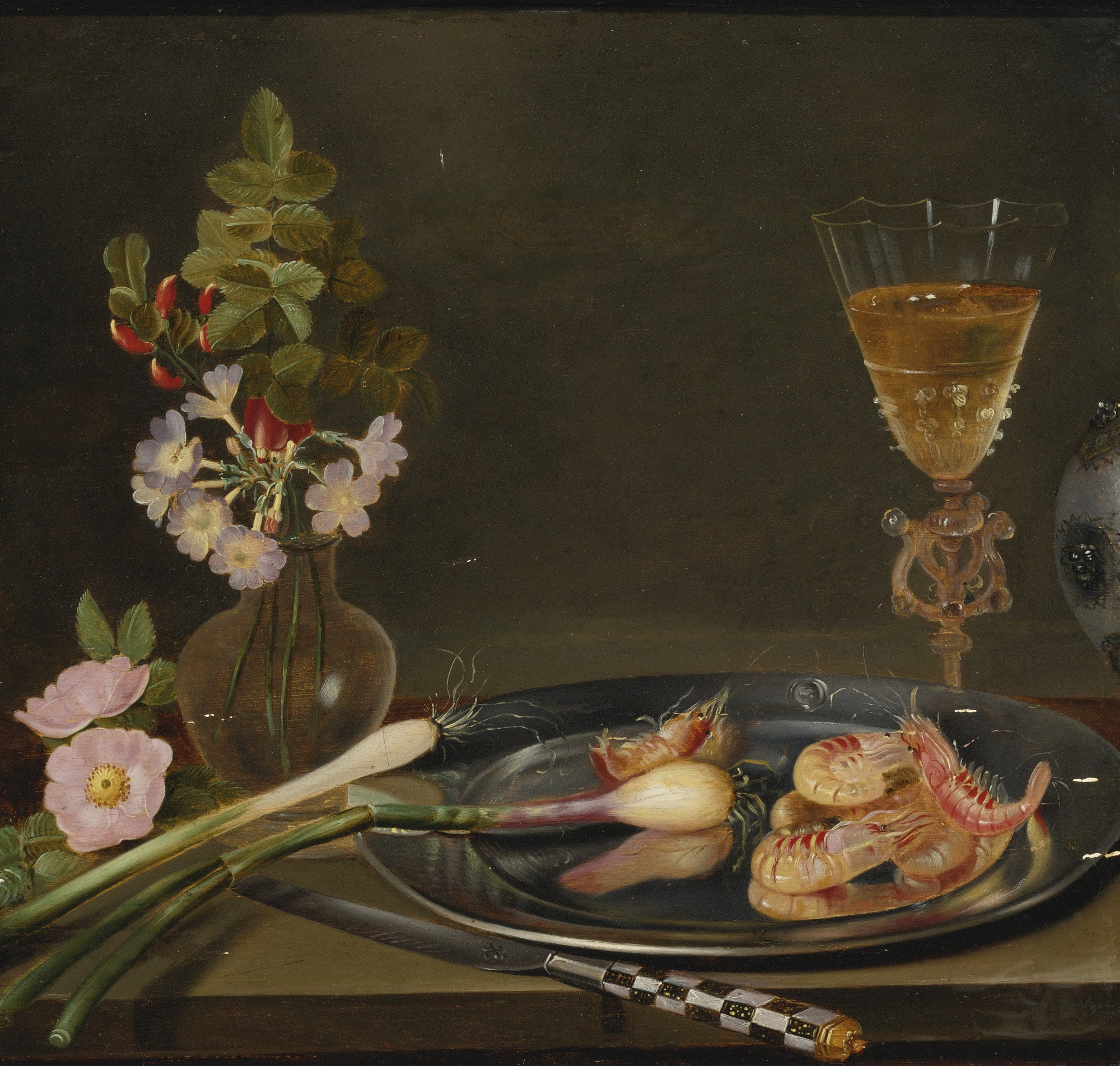 Still Life Flowers In A Vase Of Frans Ykens Wikipedia Throughout Still Life with Shrimp Ramps Flowers and A Glass Vase