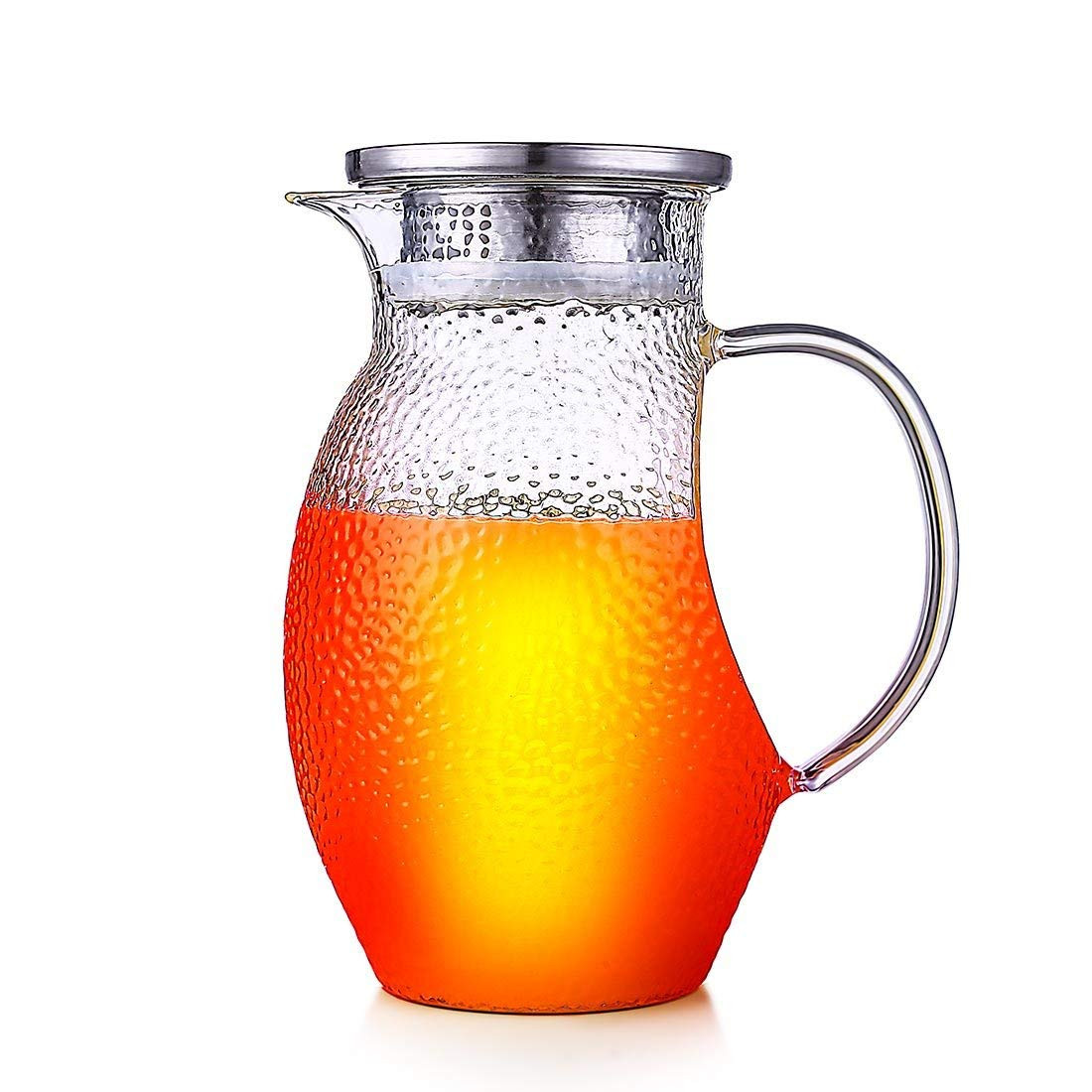 suction cup flower vase of amazon com oneisall 44oz glass pitcher with lid borosilicate in amazon com oneisall 44oz glass pitcher with lid borosilicate glass jug carafe with stainless steel infuser for ice tea juice cold brew cold hot water