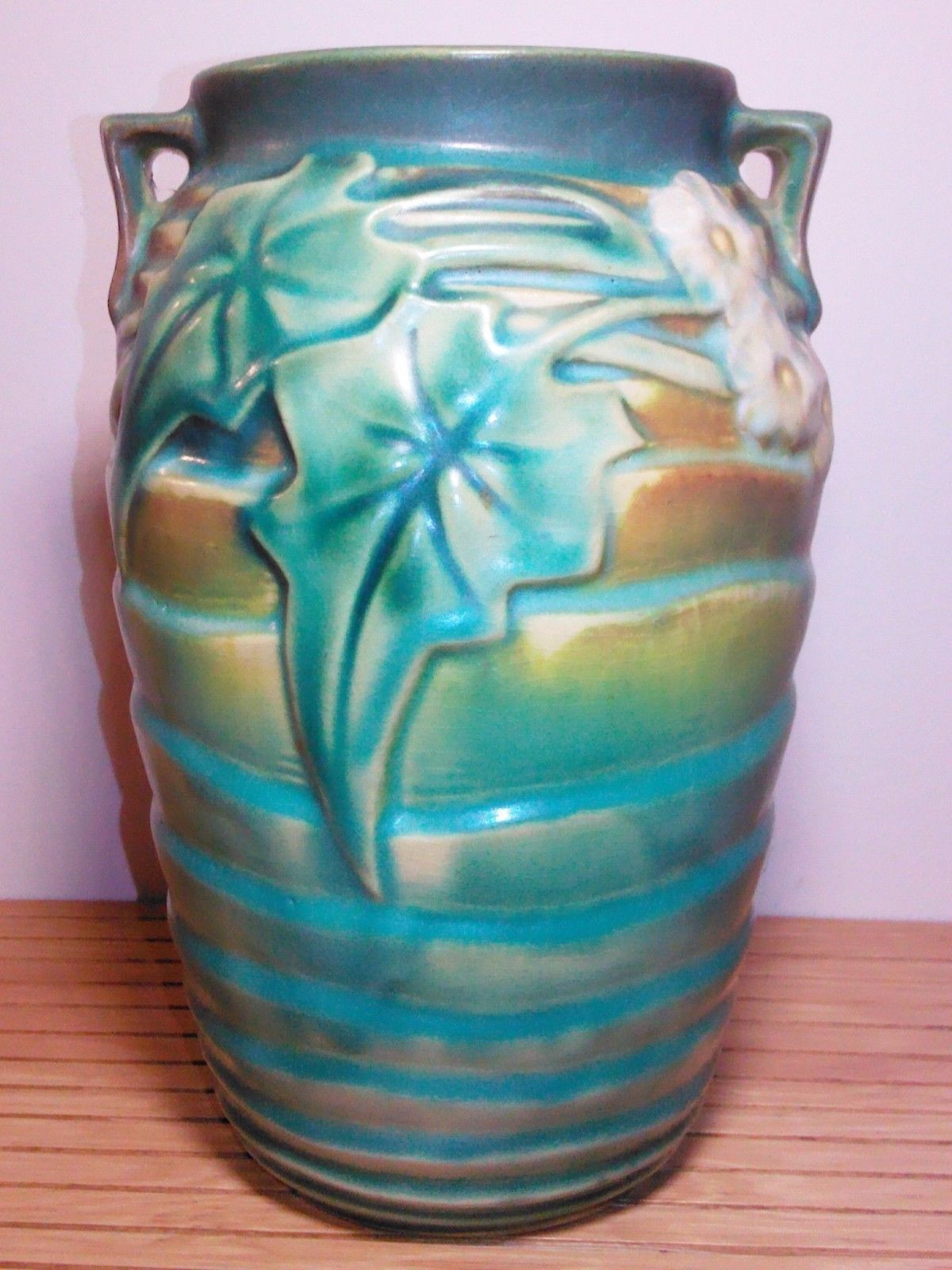 sunflower ceramic vase of roseville luffa green vase 685 7 with foil label excellent ebay with roseville luffa green vase 685 7 with foil label excellent